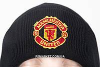 Шапка МАНЧЕСТЕР ЮНТД двойная вязка с вышивкой логотипа футбольного клуба, фото 1