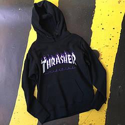 Толстовка чёрная Thrasher | худи Трешер | кенгуру трашер