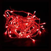 Уличная Светодиодная Нить 10м 100 LED, цвет: красный, белый провод, мерцает