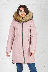 Зимняя удлиненная куртка Кетти пудра