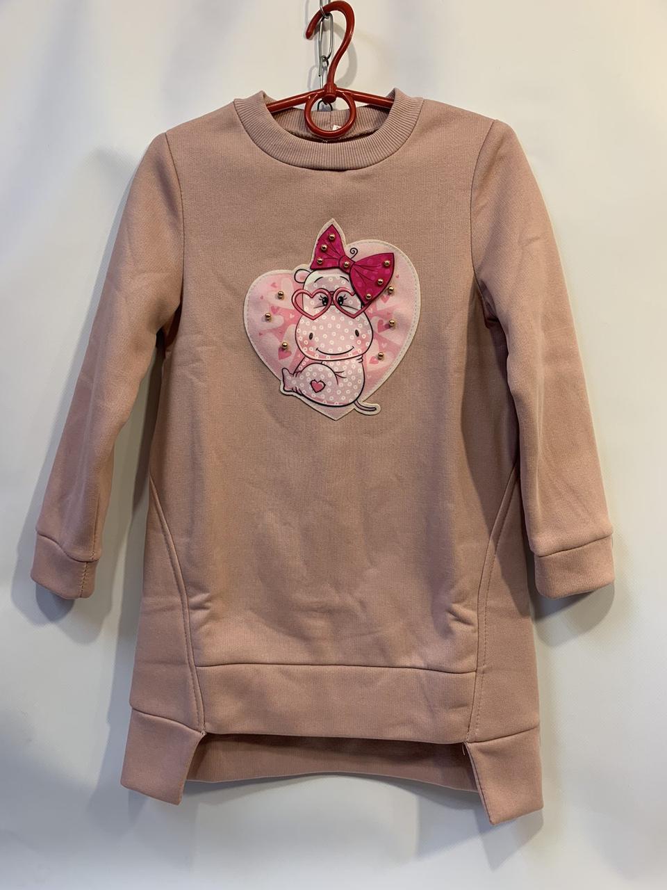 Детское платье-туника для девочки Бегимот р.5-8 лет пудра