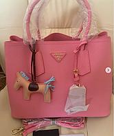 Сумка Prada Double Bag из кожи Saffiano в розовом цвете