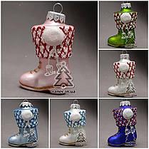 Елочная игрушка Сапожок стекло  И-11, фото 2