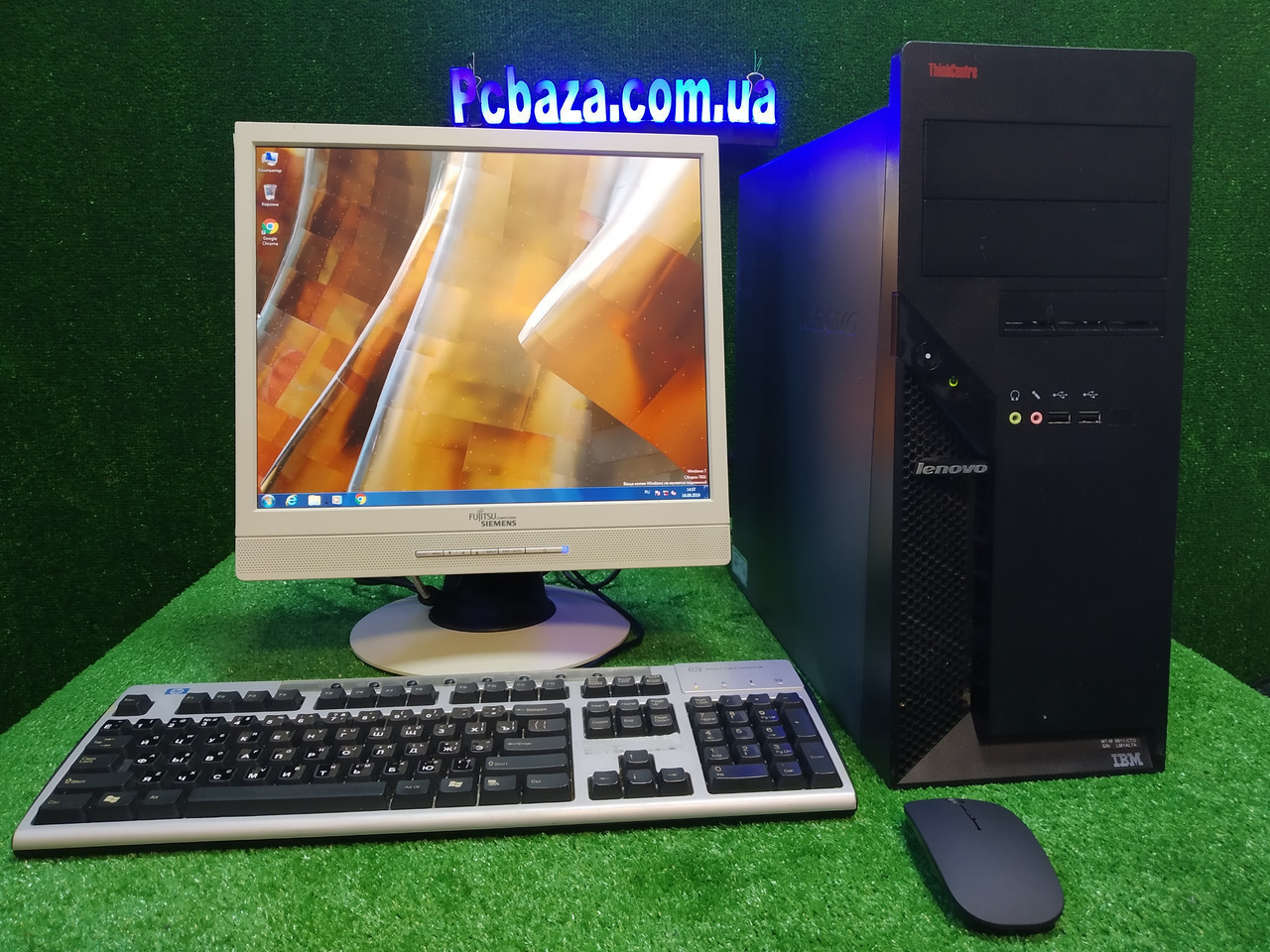 """Комплект Lenovo M55, 4 ядра, 4 ГБ ОЗУ, 500 Гб HDD + монитор 17"""" Fujitsu, Полностью настроен!"""