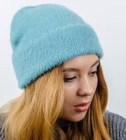 """Вязаная женская шапка-лопатка, """"Травка с отворотом"""", (Бирюза)"""