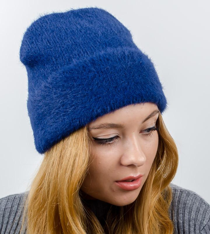 """Вязаная женская шапка-лопатка, """"Травка с отворотом"""", (Синий)"""