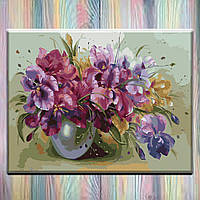"Картина по номерам, холст на подрамнике, Цветы ""Букет ярких ирисов"" 40х50см, без коробки"