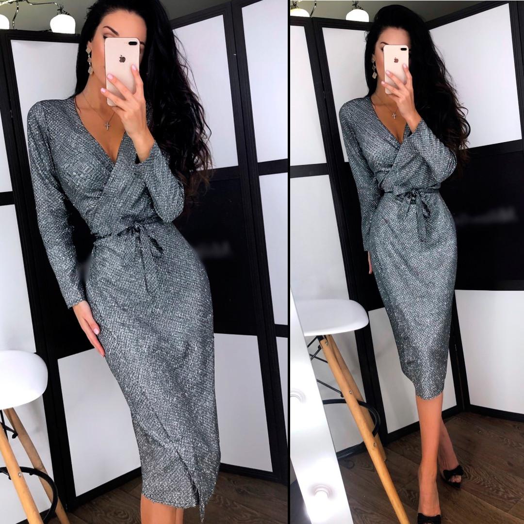 Блестящее платье цвета темное серебро (Код MF-198)
