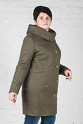Женское утепленное пальто Мери зеленое