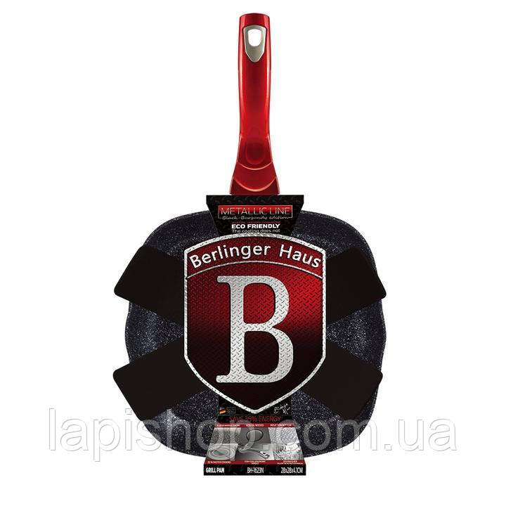 Сковорода-гриль Berlinger Haus Metallic Line BLACK BURGUNDY BH 1623N - 28x28 cм, фото 1