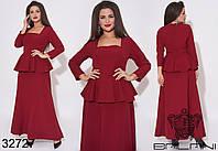 Женственное длинное платье с квадратным вырезом горловины и баской с 50 по 56 размер