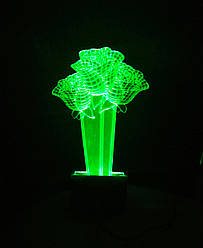 3d-светильник Букет 3 розы, 3д-ночник, несколько подсветок (на батарейке)