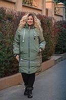 Зимняя длинная куртка на синтепоне с капюшоном, с 52 до 66 размера, хаки, синий, серый, черный, марсала, белый