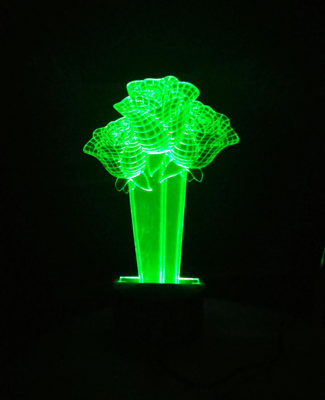 3d-світильник Букет 3 троянди, 3д-нічник, кілька підсвічувань (на пульті)