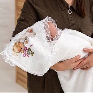 Крыжма для крещения с капюшоном Ангелочек