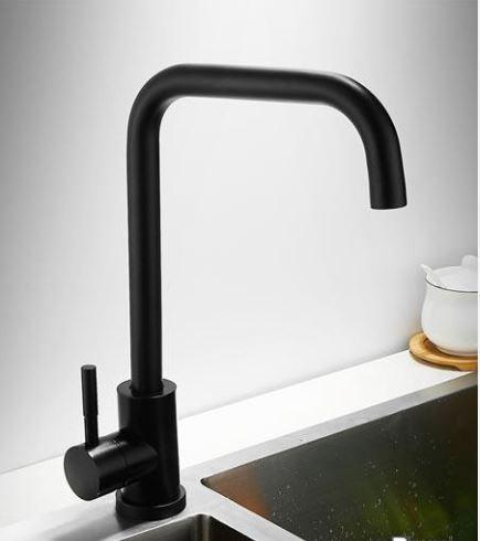 Змішувач для мийки на кухню чорний одноважільний 0708