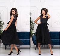 Ошатне плаття з пишною спідницею міді 20566, фото 1