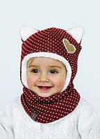 """Детский зимний комплект шапка с завязками и шарфом для девочки """"Синди"""", ТМ Dembo house"""
