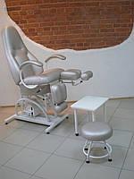 Кресло педикюрное КП-5РГ гидравлика с регулируемыми пуфиками для ног и подставкой для ванночки, фото 1