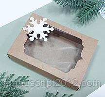 Коробка для подарунків зі сніжинкою крафт  130х90х35 мм.