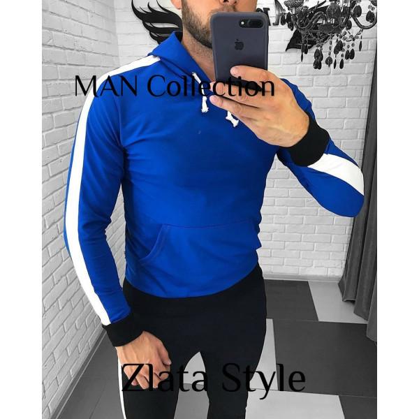 """Стильная мужская кофта с капюшоном, худи, """"Дмитрий"""" синяя"""