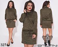 Стильное мини платье из ангоры с боковыми карманами с 50 по 54 размер, фото 1