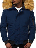 Мужская зимняя куртка с мехом синяя J.Style 20190 молодежная