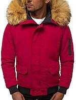 Мужская зимняя куртка с мехом бордовая J.Style 20190 молодежная