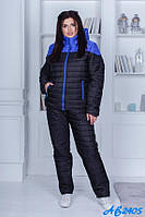 Костюм зимний куртка на молнии и штаны теплый на полных женщин черный с синим, р. 48 50 52 54