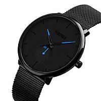 Skmei 9185 с синими стрелками мужские классические часы, фото 1
