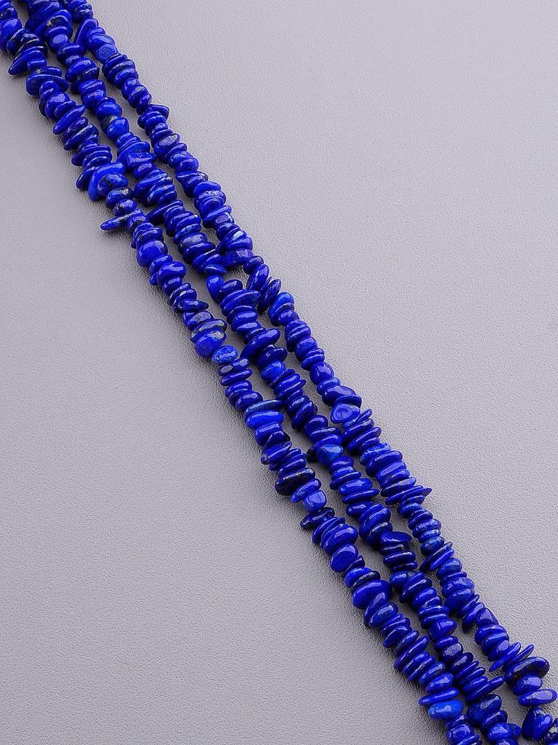 Заготовка для бус и браслетов нить из натурального камня Лазурит 40 см  сертификаты на камни