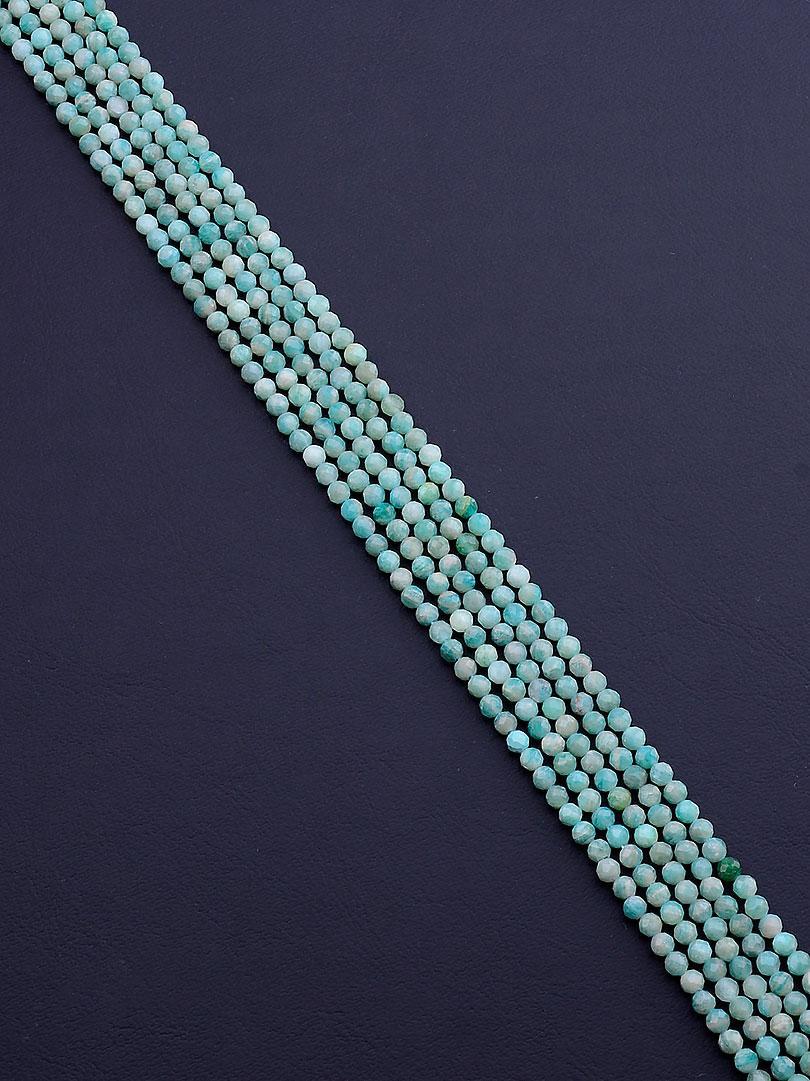 Заготовка для бус и браслетов нить из натурального камня Амазонит 40 см 3 мм  сертификаты на камни