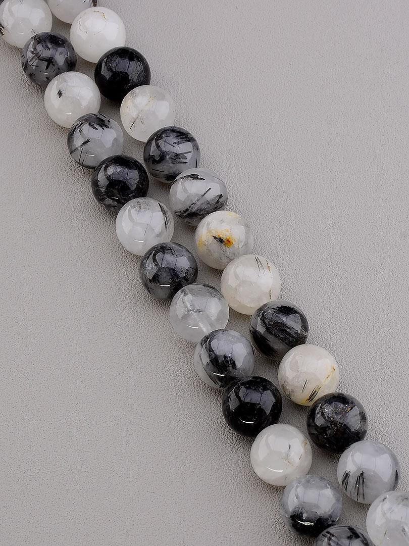 Заготовка для бус и браслетов нить из натурального камня Волосатик 40 см 12 мм  сертификаты на камни
