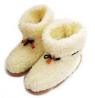 Чуни мужские из шерсти мериносовой овчины со шнурками