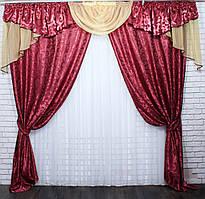 Комплект шторы с ламбрекеном на карниз 3м. Цвет бордовый с янтарным. Код 050лш 70-012