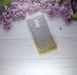 Чохол накладка Glitter Ombre на Samsung A6 Plus (2018)/ Samsung J8 (2018), Silver/Gold