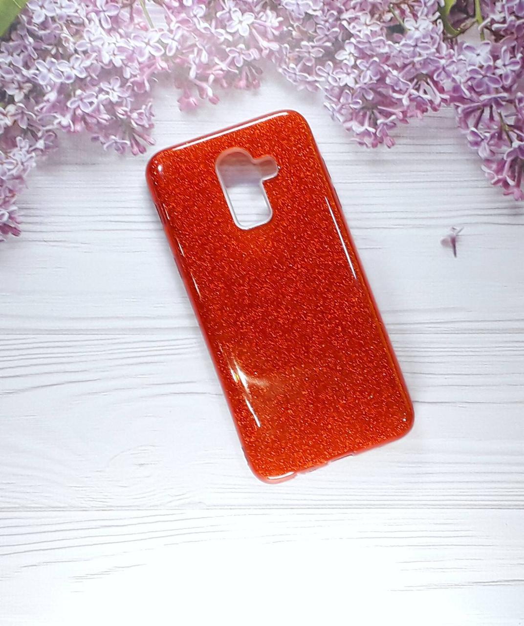 Чохол накладка Glitter на Samsung A6 Plus (2018), Red