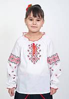 """Блузка """"Червоні орнаменти"""" біла, фото 1"""