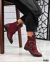 Демисезонные ботинки кожаные с пряжками цвета марсала
