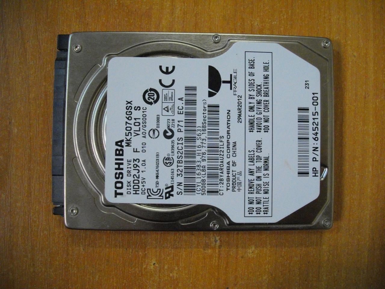 HDD Жесткий диск Toshiba 500GB SATA БУ рабочий, есть БЭД сектора MK5076GSX