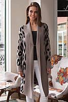 Женский зимний осенний удлиненный вязанный теплый кардиган леопардовый марсала джинс 42-48, фото 1