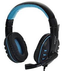 Игровые наушники с микрофоном 3,5 мм. геймерские для компьютера игр ПК KOMK K4 синие