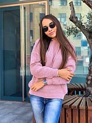 Объёмный свитер с капюшоном 42-48