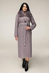 Пальто женское зимнее, цвет сирень,песец П-1229 н/м Шерсть пальт 113-1712 Тон 5 | 44-54р. 80% шерсти