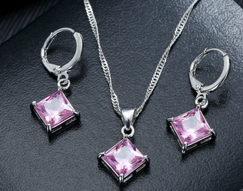 Комплект серебряных украшений, Кристал, Розовые, серебро 925 проба, горный хрусталь