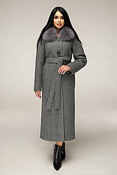 Пальто женское зимнее удлиненное, мех песец П-1229 н/м Шерсть пальтовая 113-1712 Тон 10 | 44-54р. 80% шерсти