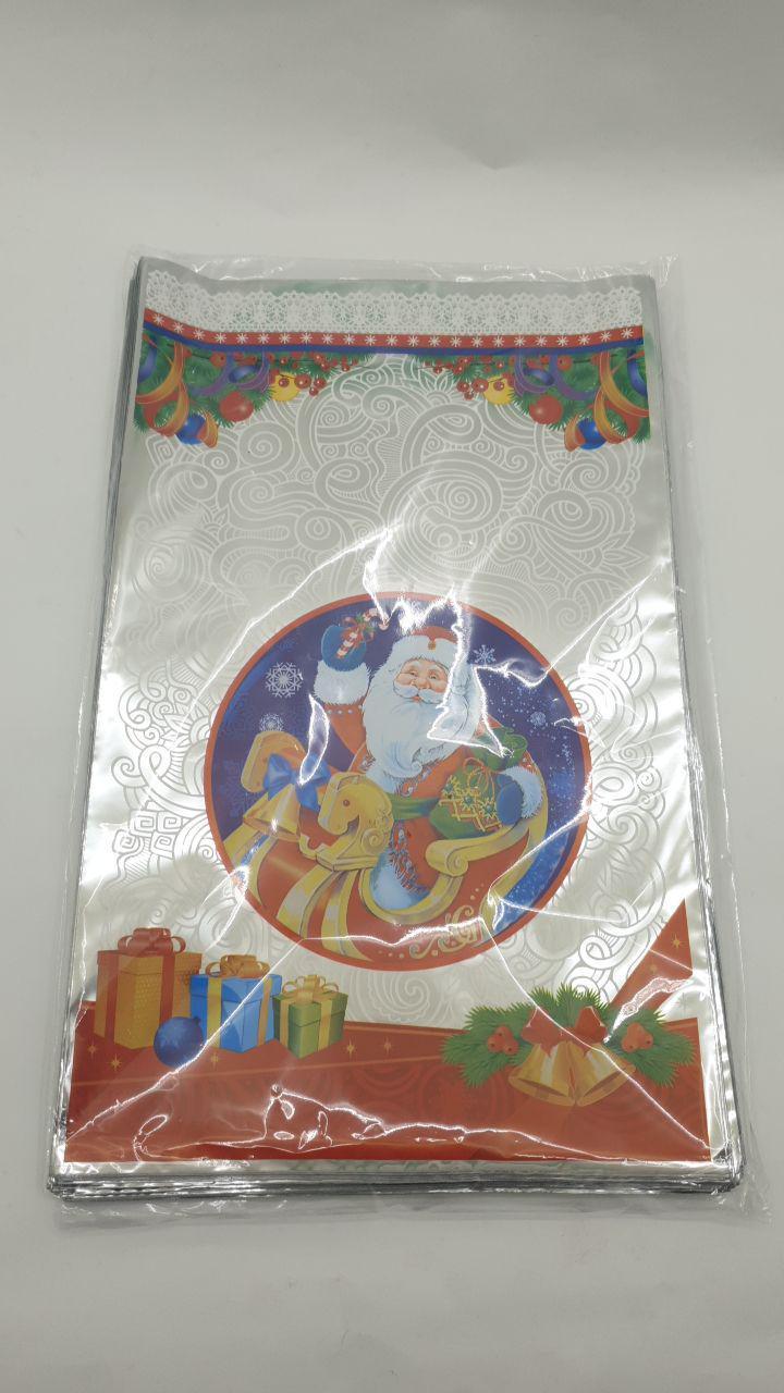 Новогодние пакеты для конфет и подарков (25*40) Новый Дед Мороз в санях, 100 шт\пач