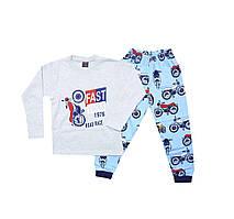 Пижама (лонгслив, брюки) детская c принтом мотоцыкл