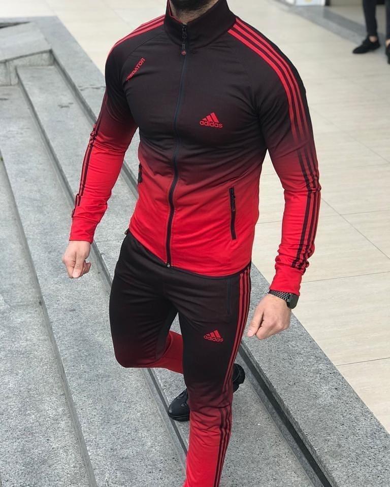 Мужской спортивный костюм Адидас красно-черный (реплика)