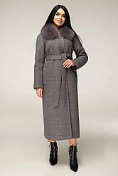 Пальто женское зимнее удлиненное, серый,мех песец П-1229 н/мШерсть пальт. 113-1712 Тон 13 | 44-54р. 80% шерсти